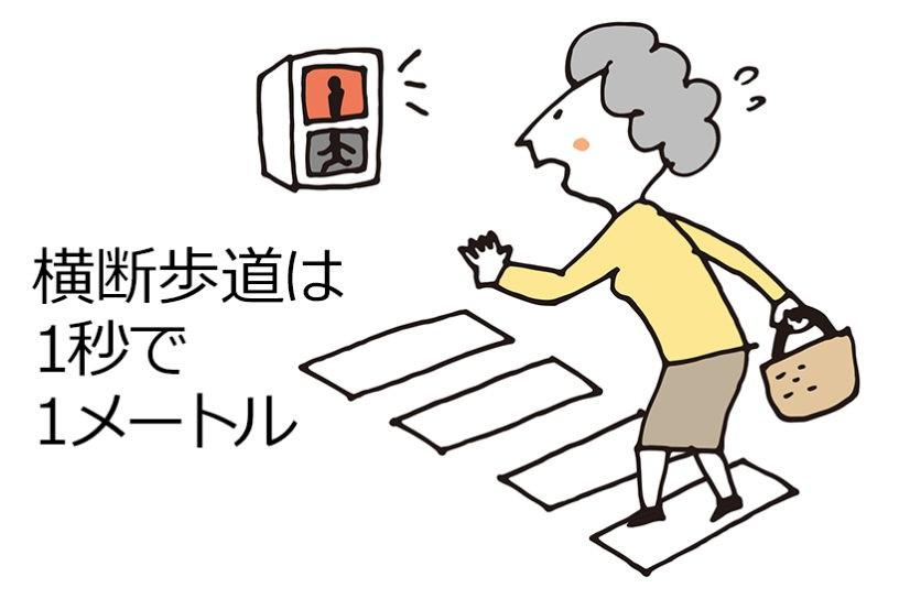 横断歩道は1秒で1メートル