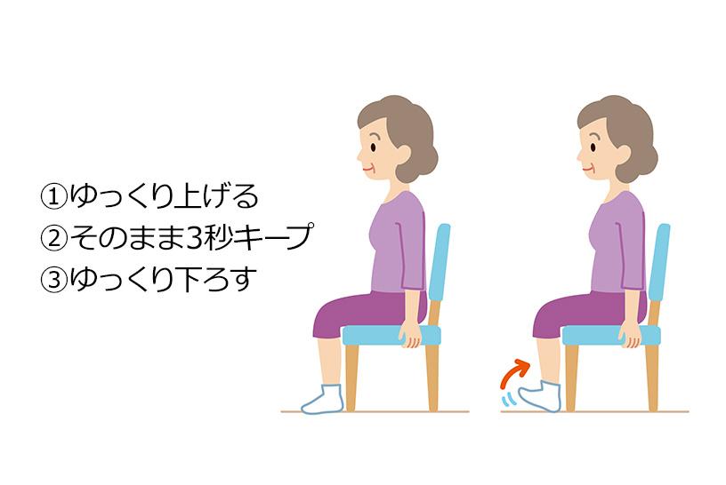つま先を上げる前脛骨筋(ぜんけいこつきん)を鍛える運動