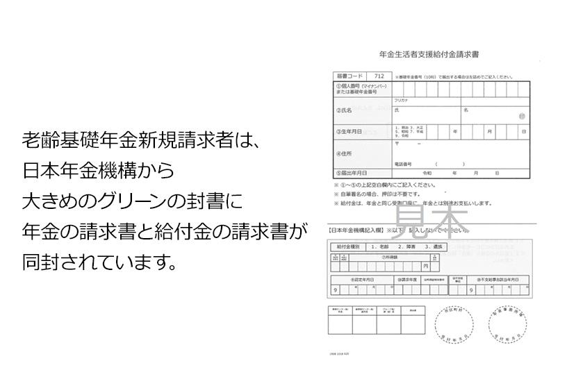 老齢基礎年金新規請求者は、日本年金機構から大きめのグリーンの封書に年金の請求書と給付金の請求書が同封されています