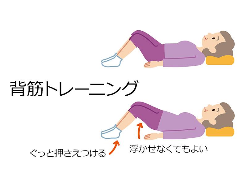 踵でベッドを下に押さえつけるようにして背筋トレーニング