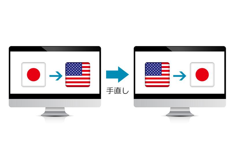 Google翻訳では日本語→英語→日本語に訳して確認を