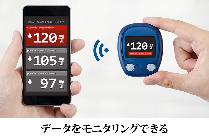 定期的に測定し、複数日の記録が可能。また他者に測定値を送信することが可能!