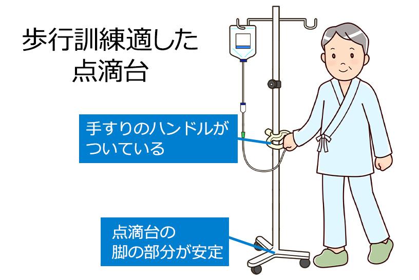点滴が必要な患者さんのリハビリでの注意点。薬剤の確認と安定した支柱台を選ぼう