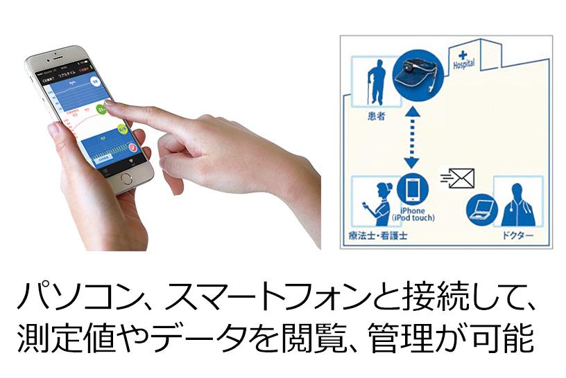 パルスフィットならスマートフォンやパソコンと接続して、SpO2と脈拍の記録と管理が可能