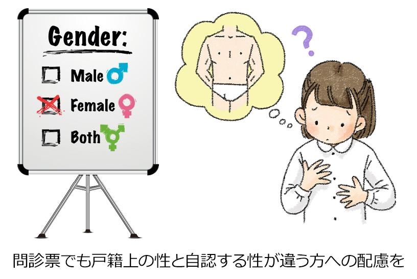 問診票でも戸籍上の性と自認する性が違う方への配慮を