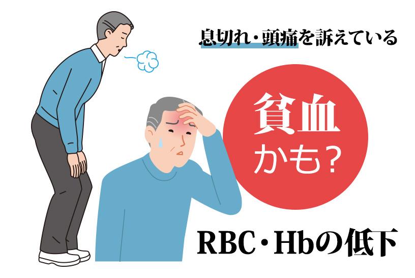 息切れ・頭痛を訴えている 貧血かも? RBC・Hbの低下