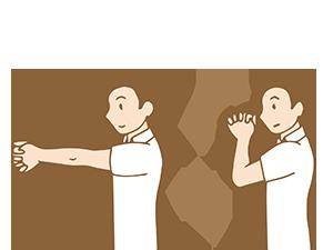 肘の曲げ伸ばしの運動