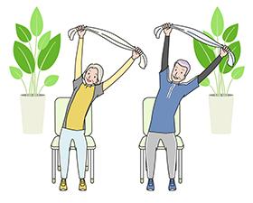 棒を頭上に持ったまま、体を横に倒す運動