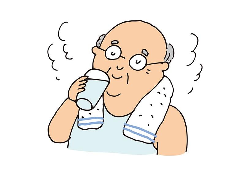 入浴前後にコップ1杯の水分補給