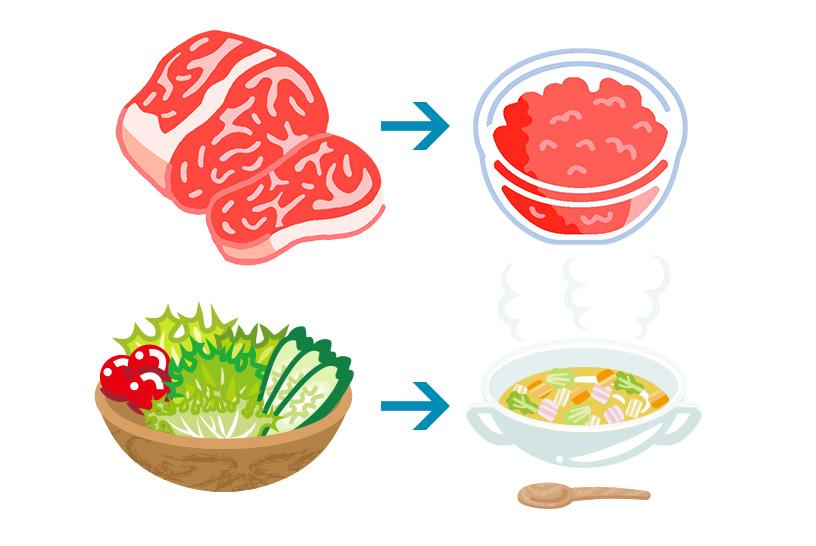 食事の形態も嚥下などに関係するため考慮が必要
