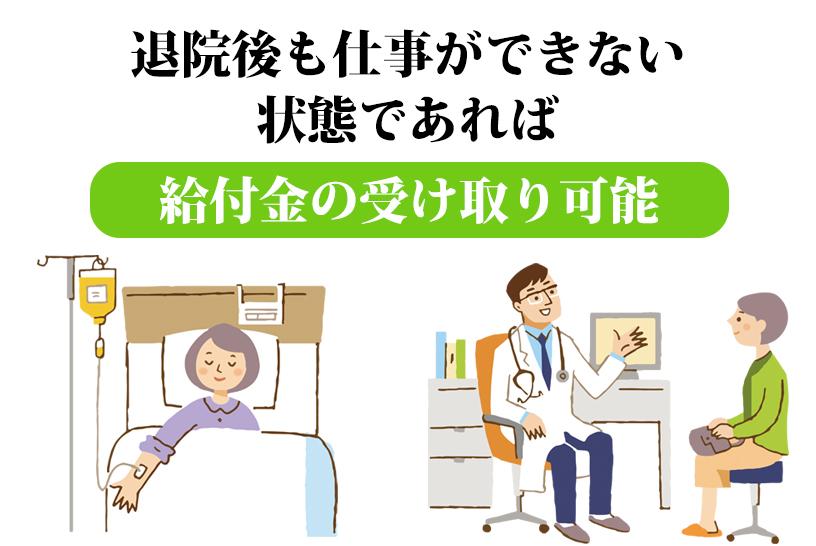 医療保険との併用も可能。退院後も受け取れることが特徴
