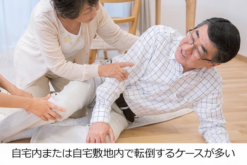 自宅内または自宅敷地内で転倒するケースが多い