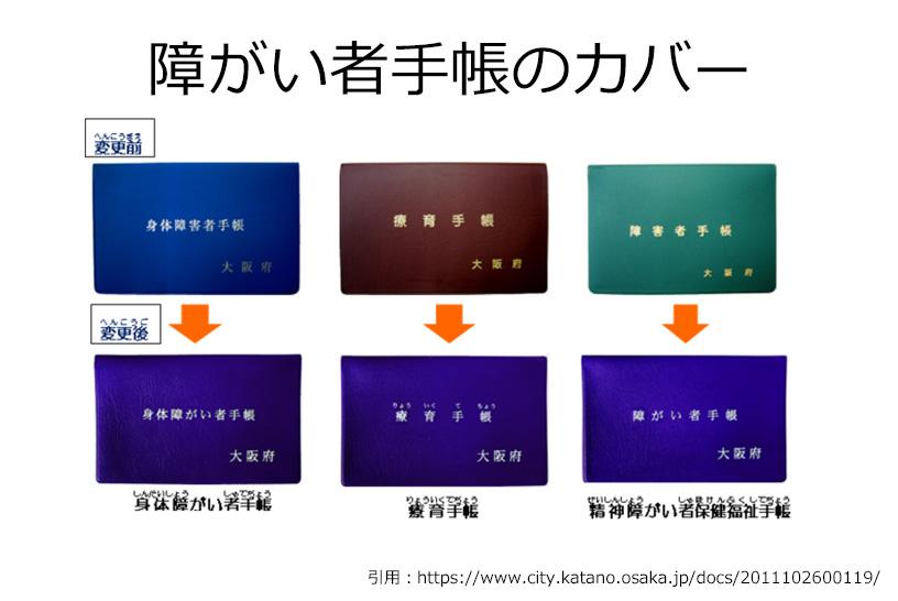 たとえば大阪府が発行する障害者手帳は3種類とも青いカバーに統一