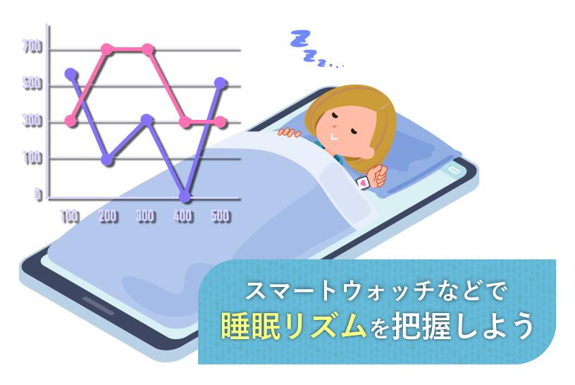 スマートウォッチなどで睡眠リズムを把握しよう