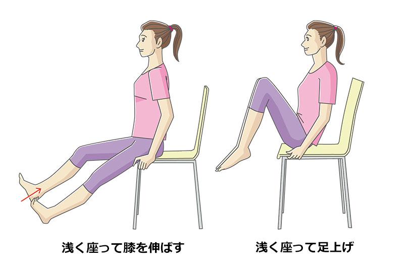 浅く座って膝を伸ばす,腕を耳に触れるようにまっすぐに挙げる