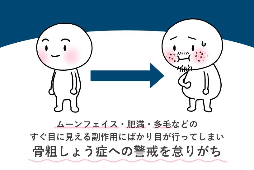 ムーンフェイス・肥満・多毛などのすぐ目に見える副作用にばかり目が行ってしまい骨粗しょう症への警戒を怠りがち
