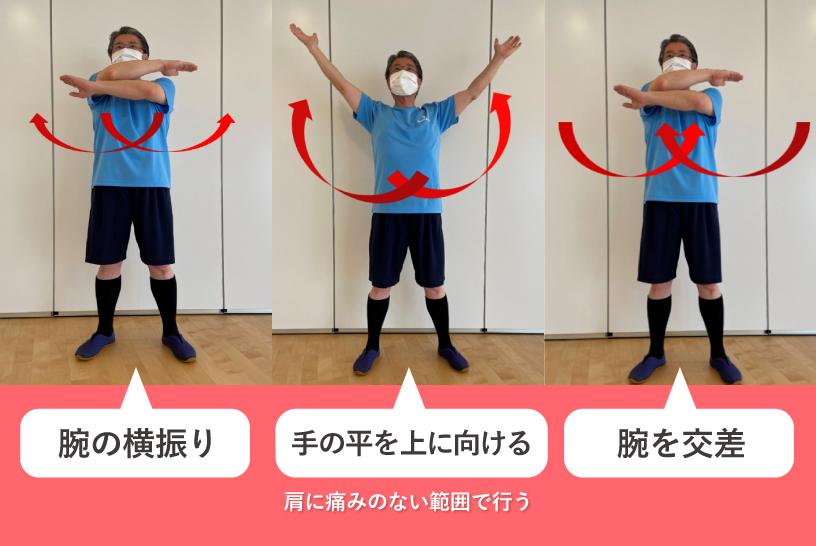 腕の横振り→手の平を上に向ける 肩に痛みのない範囲で行う→腕を交差