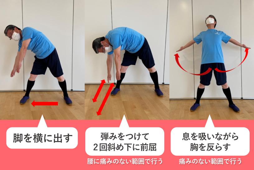 脚を横に出す→弾みをつけて2回斜め下に前屈 腰に痛みのない範囲で行う→息を吸いながら胸を反らす 痛みのない範囲で行う